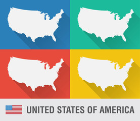 USA world map in flat style with 4 colors.