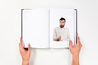 Young handsome man printed on book