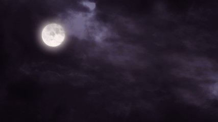 Full moon and clouds dark night sky