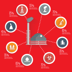 Industry info graphic design concept red version,clean vector