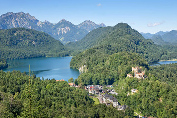Aerial view of Hohenschwangau and Alpsee lake, Bavaria, Germany