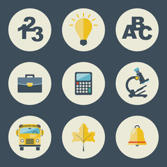 School and education icons flat design vector set