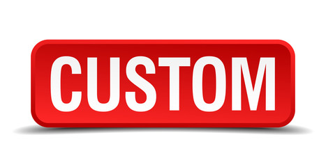 Custom red square button isolated on white background