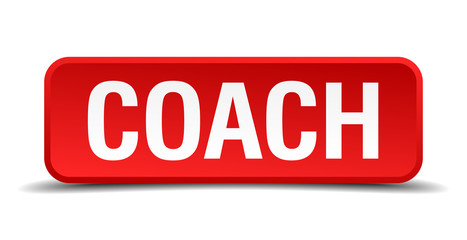 Coach red square button isolated on white background