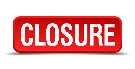 closure red square button isolated on white background