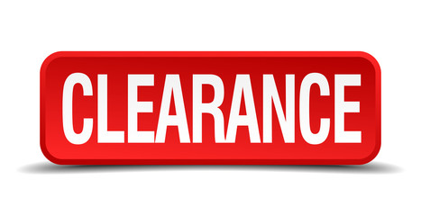 clearance red square button isolated on white background