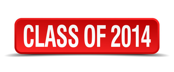 class of 2014 red square button isolated on white background