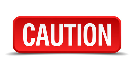 caution red square button isolated on white background