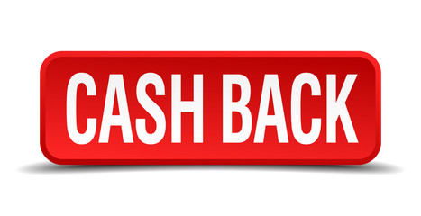 cash back red square button isolated on white background