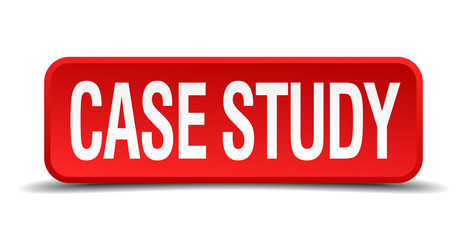 case study red square button isolated on white background