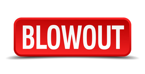 blowout red square button isolated on white background