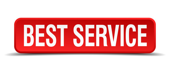 best service red square button isolated on white background