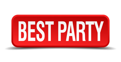 best party red square button isolated on white background