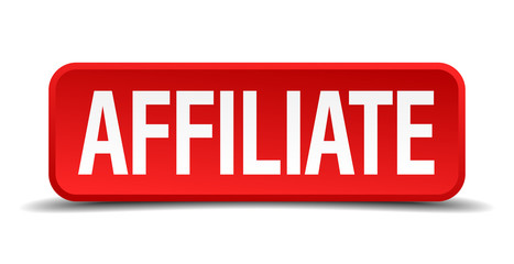 Affiliate red square button isolated on white background