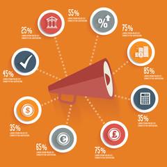Megaphone concept info graphic design orange version