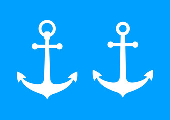 White anchor icons on blue background