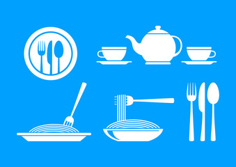 White food icons on blue background