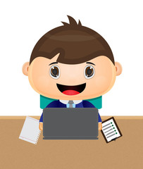 cute kid cartoon sitting play notebook