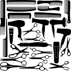 Barber (hairdressing) salon equipment - hairdryer, scissors and