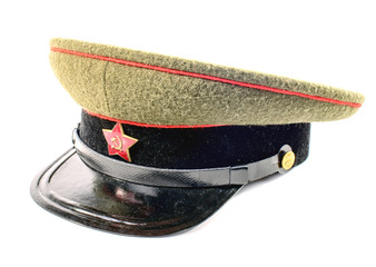 soviet soldier cap on the white background