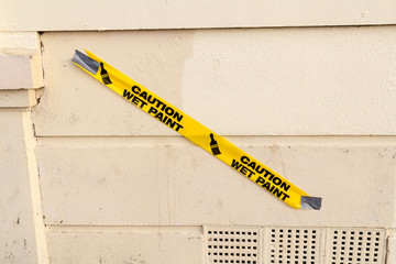 Caution wet paint tape in Brighton, UK