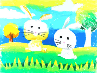 7 age child's painting a rabbits