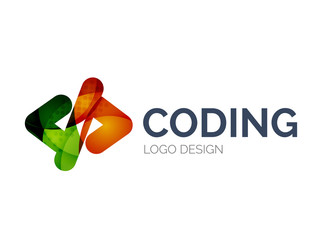 Code icon logo design made of color pieces