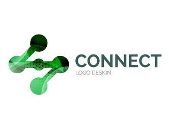 Connection icon logo design made of color pieces