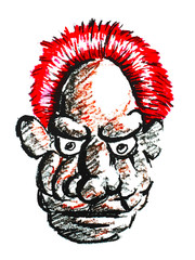 old man face with red hair painting on white background