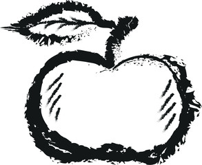 simple doodle apple, charcoal line art