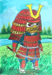 red samurai painting background