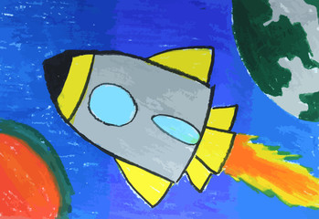 rocket ship in the sky painting background