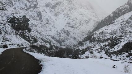 Nevando en Paisaje de Montaña