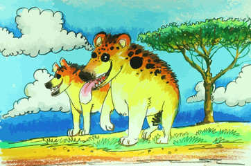 colorful Hyenas in wild painting background