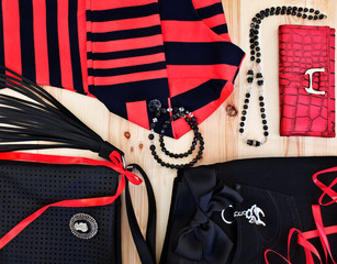 fashionable women's clothing and accessories in red and black to