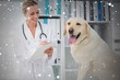 Composite image of veterinarian writing prescription for dog