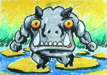 angry hippo walk on stone in water painting background