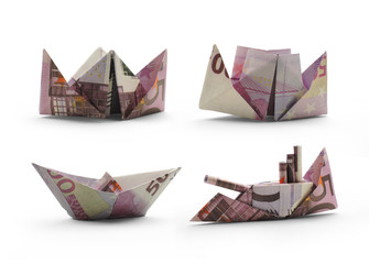 collection of origami ships of five hundred euro banknotes