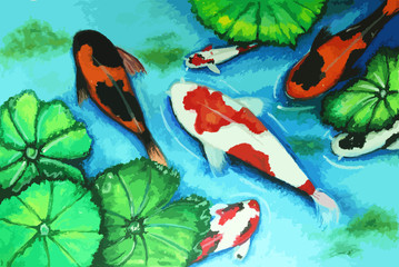 koi fish swiming in water painting background