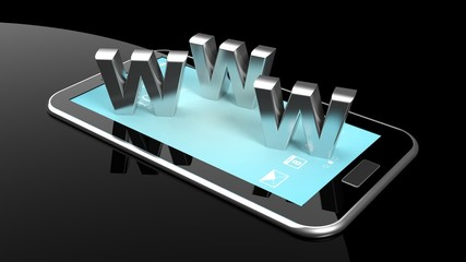 Tablet or smartphone with 3d letters WWW isolated on black