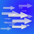 white arrow on blue background - vector illustration