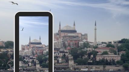 Tablet, smartphone taking picture of Hagia Sophia