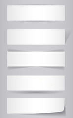 White Banners with shadow - vector illustration