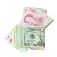 Dollar USA and RMB Chinese isolated with clipping path.