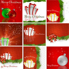 A Christmas background set - vector illustration