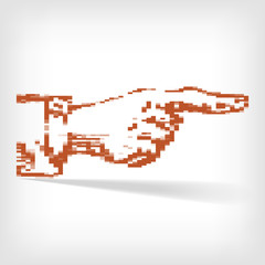 pixel art hend pointer with shadow - vector illustration