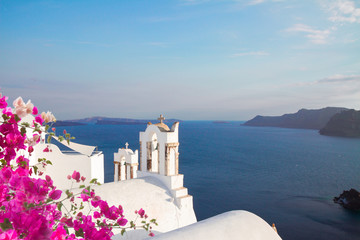 white belfries Santorini island, Greece