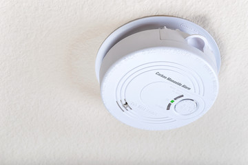 Carbon monoxide alarm mounted on the ceiling