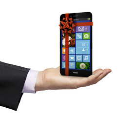 present smartphone over a hand