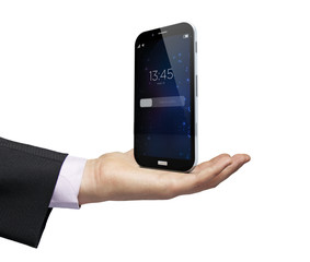 locked smartphone over a hand